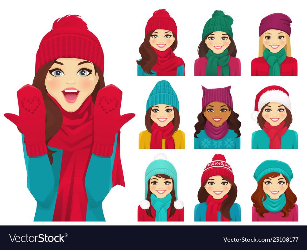 Women set in hats