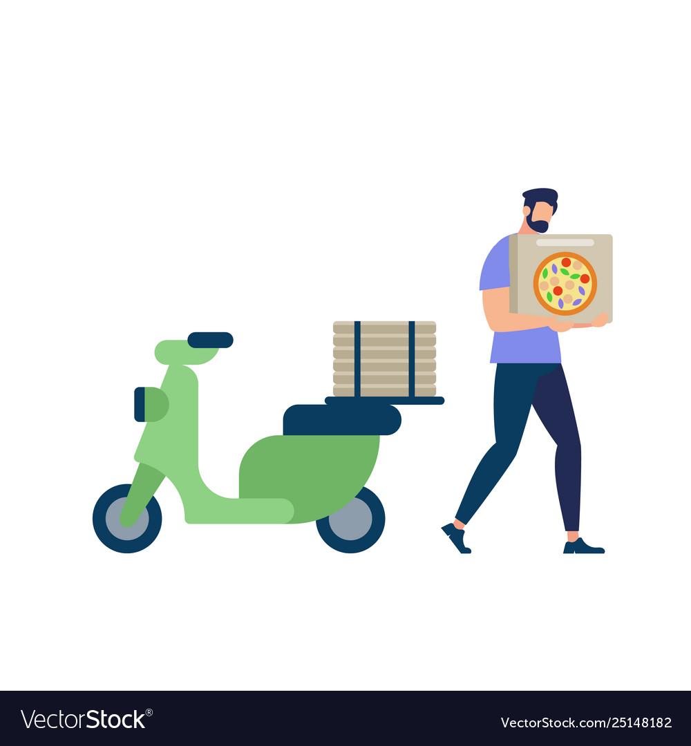 Bearded man wearing blue shirt carry pizza box