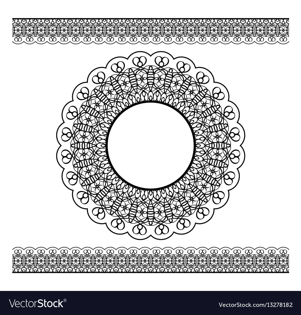 Black lacy border and circle frame vector image