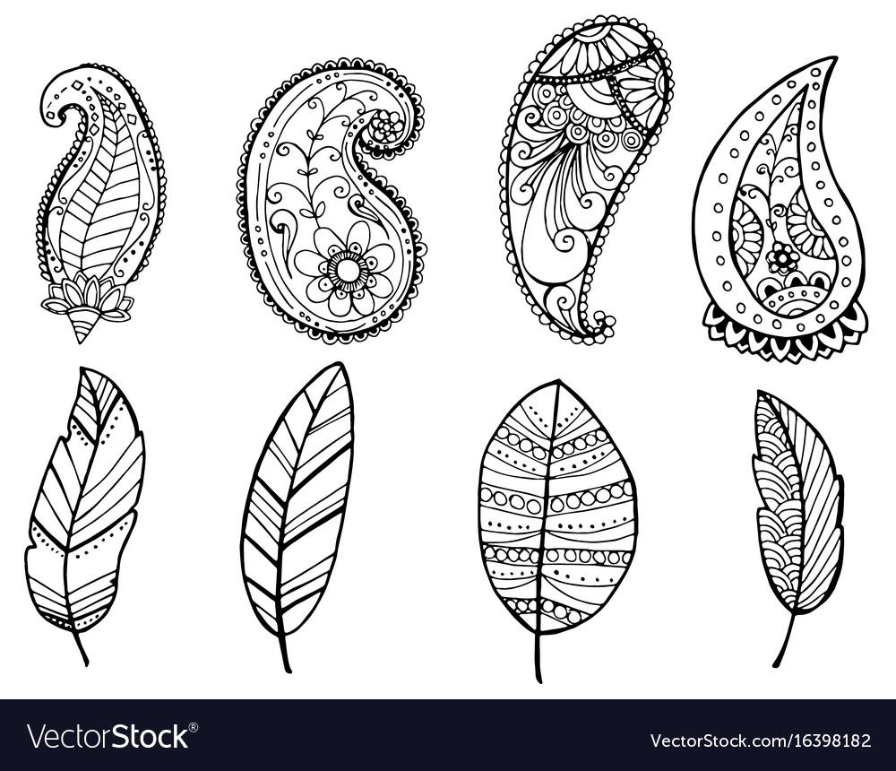Design of vintage mandala doodle elements vector image