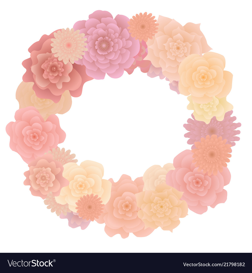 Flower wreath with blooming roses isolated on