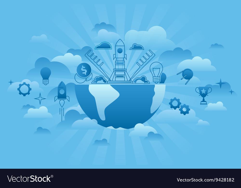 Global startup concept blue
