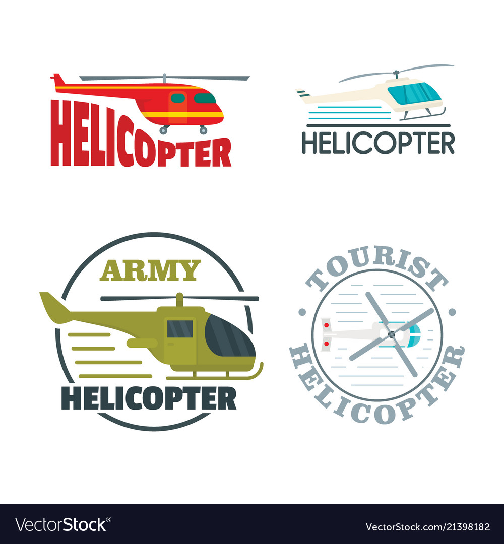 Helicopter drone logo icons set flat style