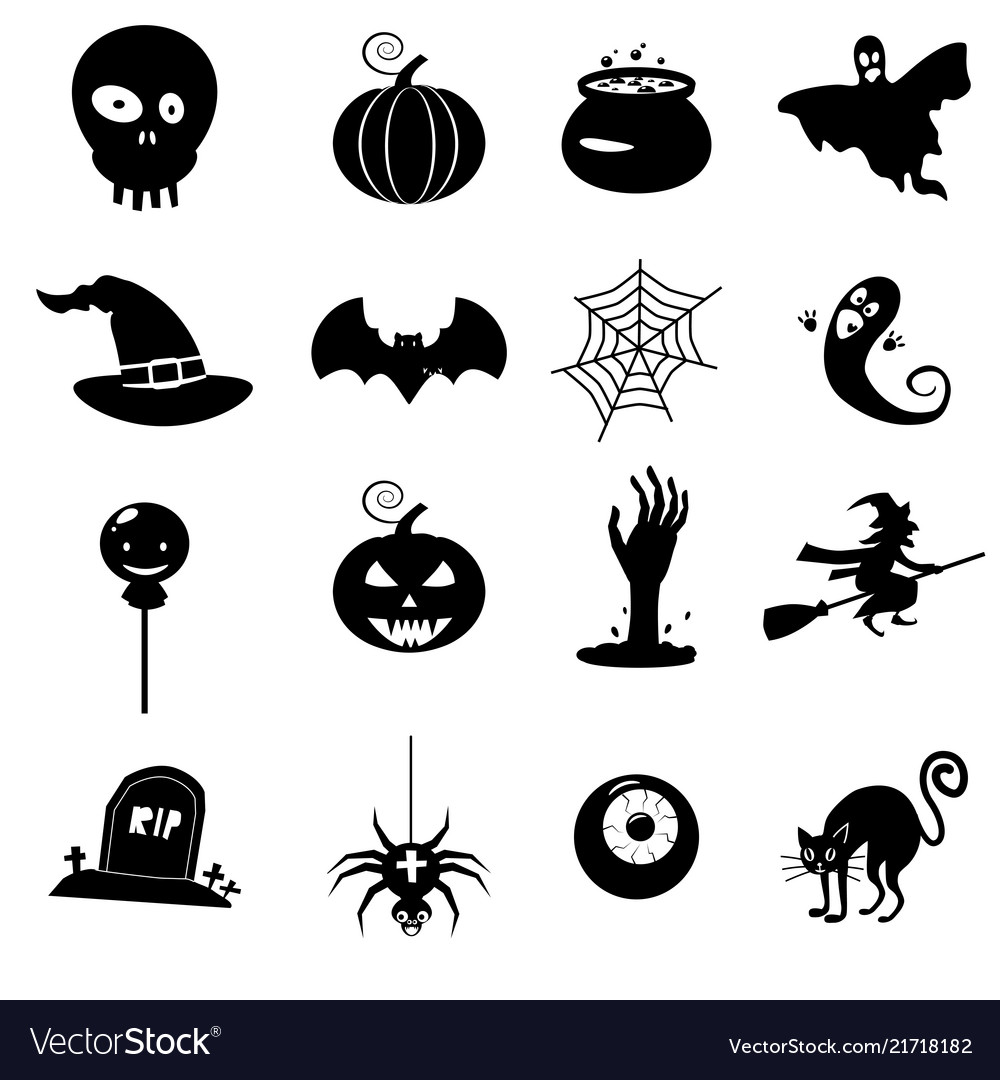 Icon set helloween- witch hat grim reaper