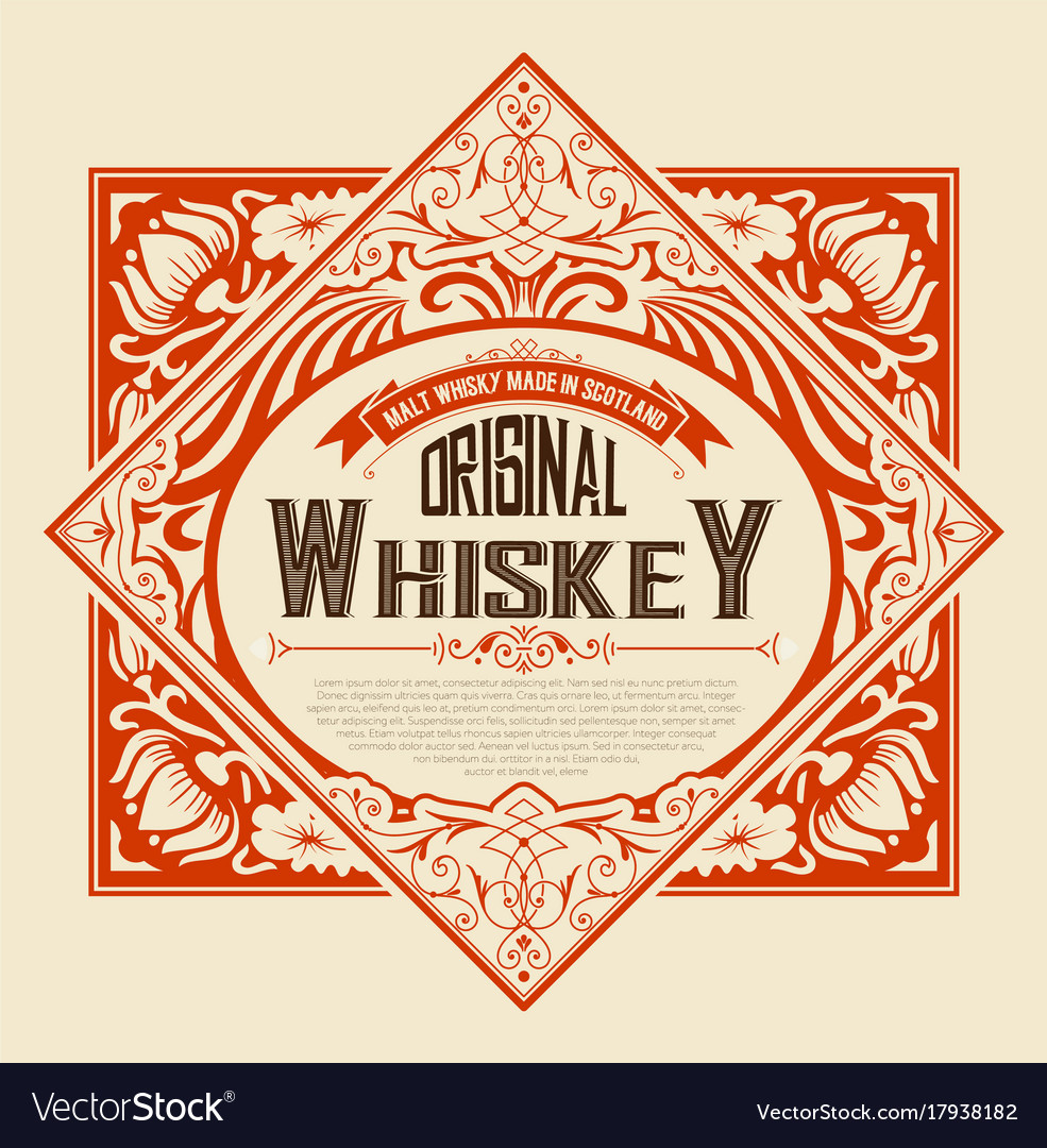 Old label design for whiskey and wine labe