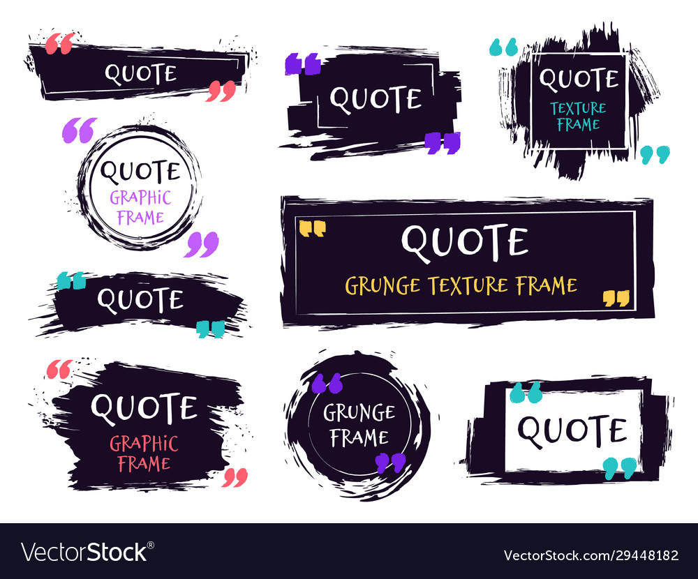 Quote brush text box grunge textured label