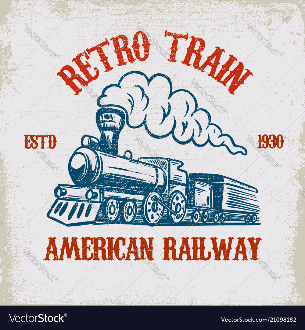 Retro train vintage locomotive on grunge