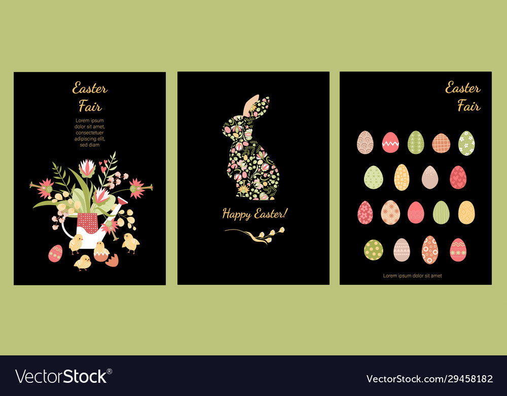 Set cards for easter with cute bunny chickens