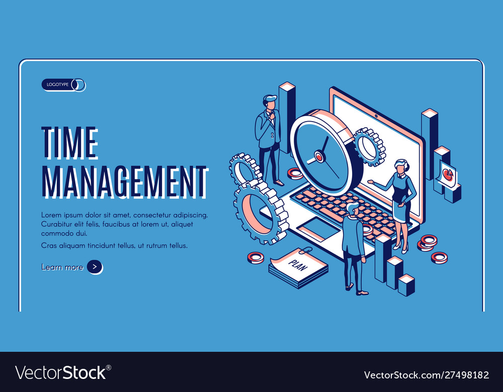 Time management landing page planning work time