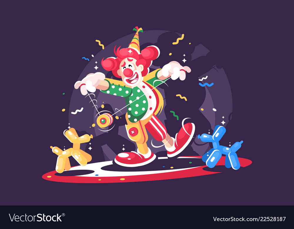 Circus show with cute clown and balloon animals