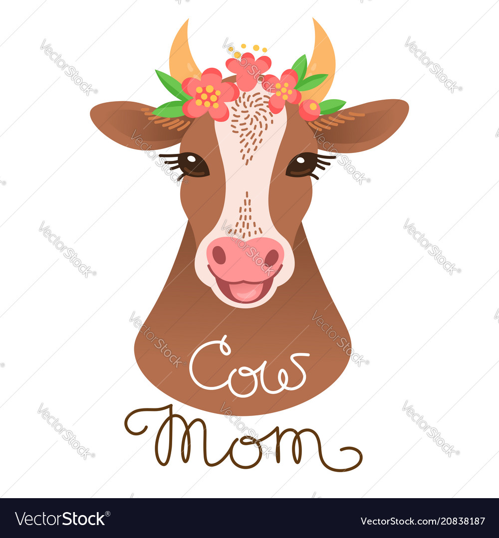 Cute cow portrait calf character in cartoon style