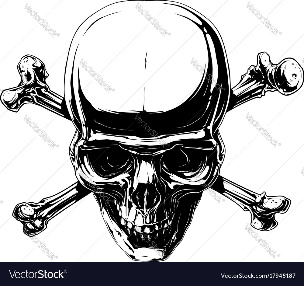 Graphic horror human skull with crossed bones