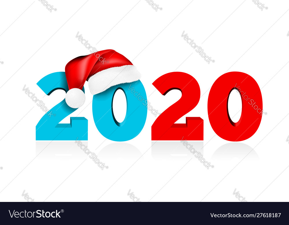 Happy new year 2020 figures under hat of