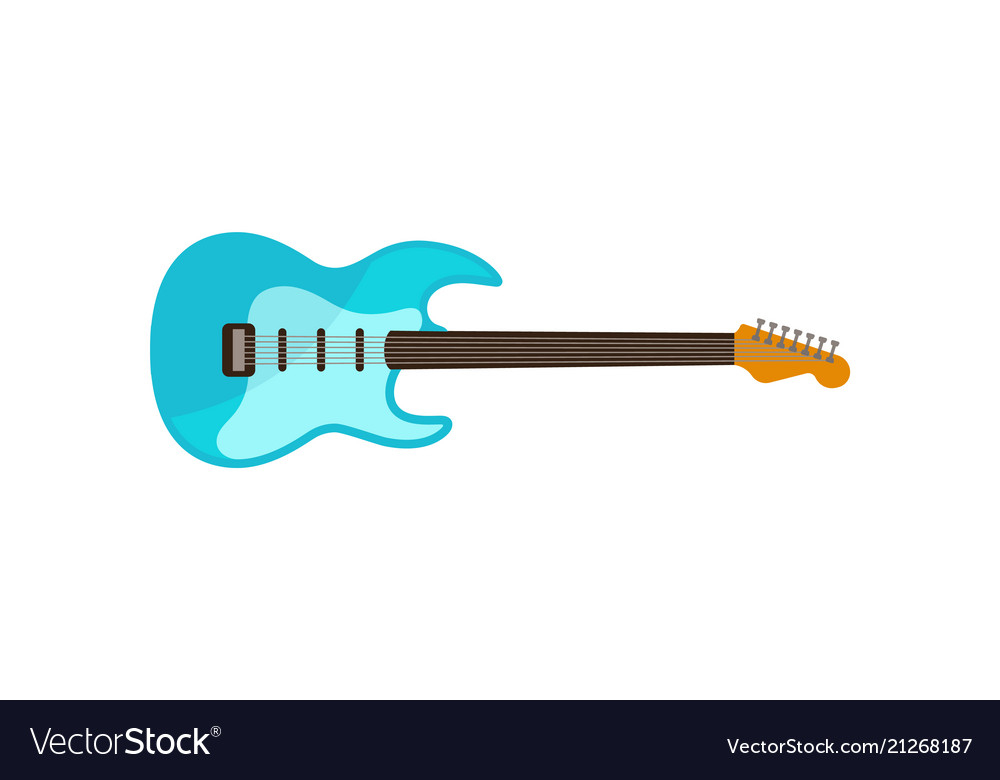 Light Blue Electric Guitar Rock Music Instrument Vector Image