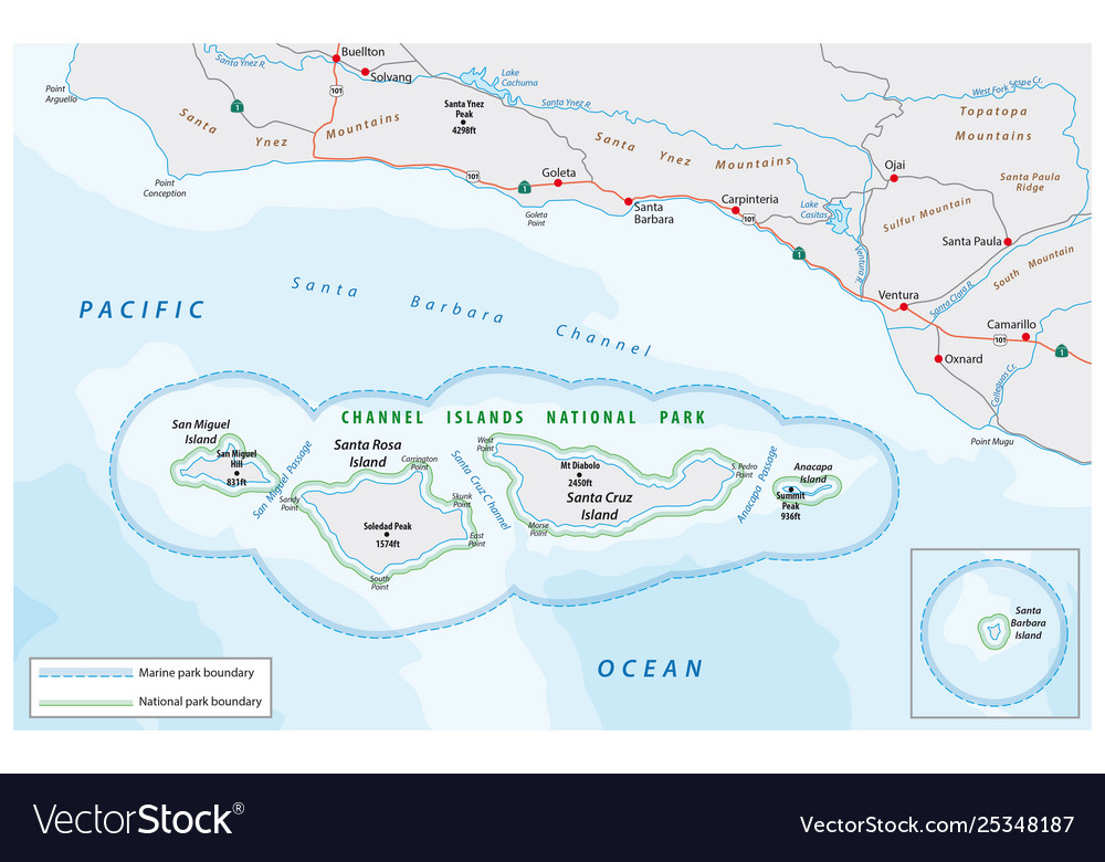 Map channel islands national park Royalty Free Vector Image on