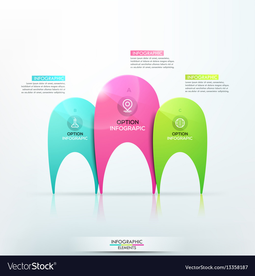Modern infographic design template with 3 separate