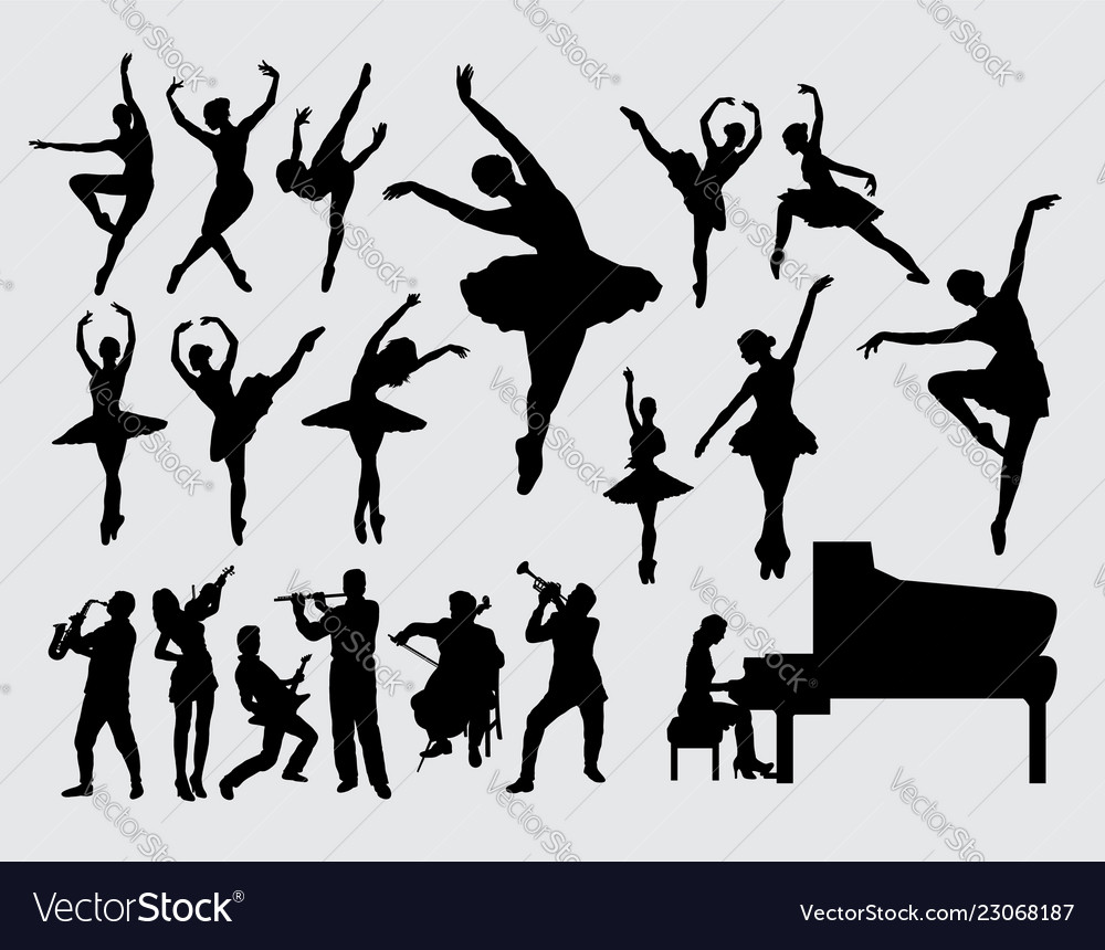 Music and dance silhouette