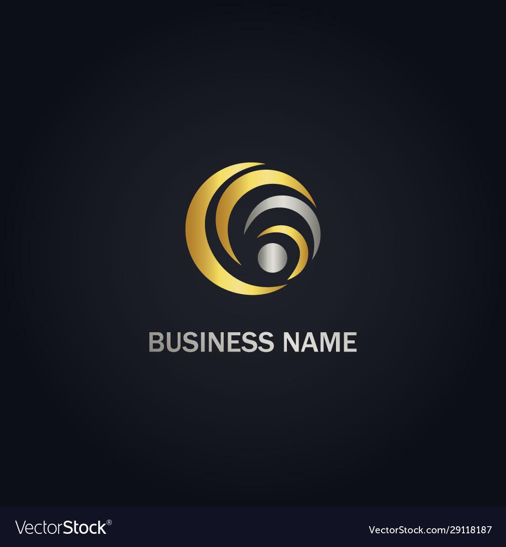 Round circle curve company gold logo