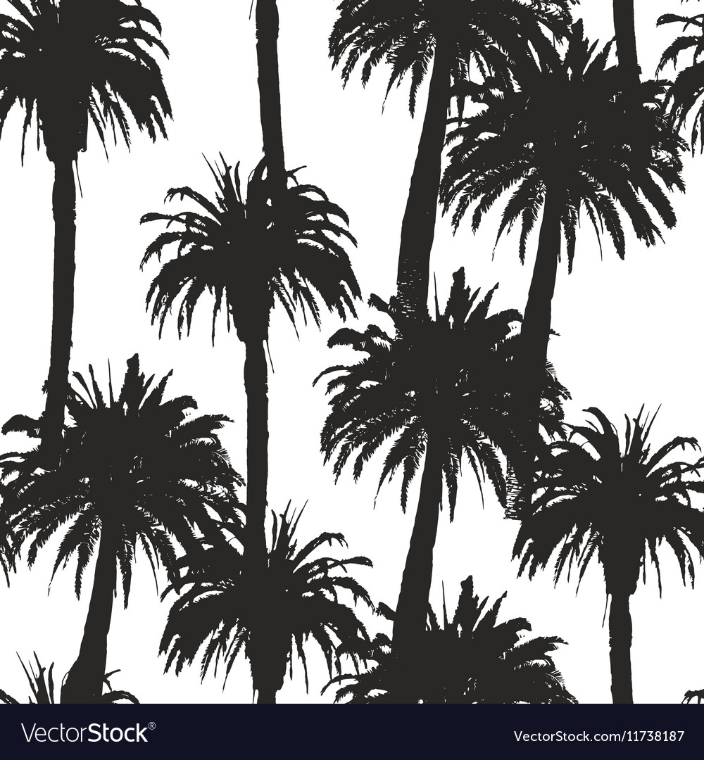 Seamless pattern with palm trees in