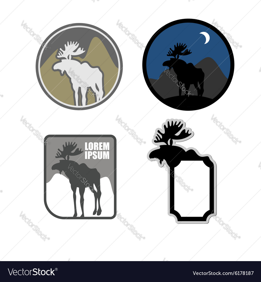 Set of icons logo moose Emblem for hunters or for