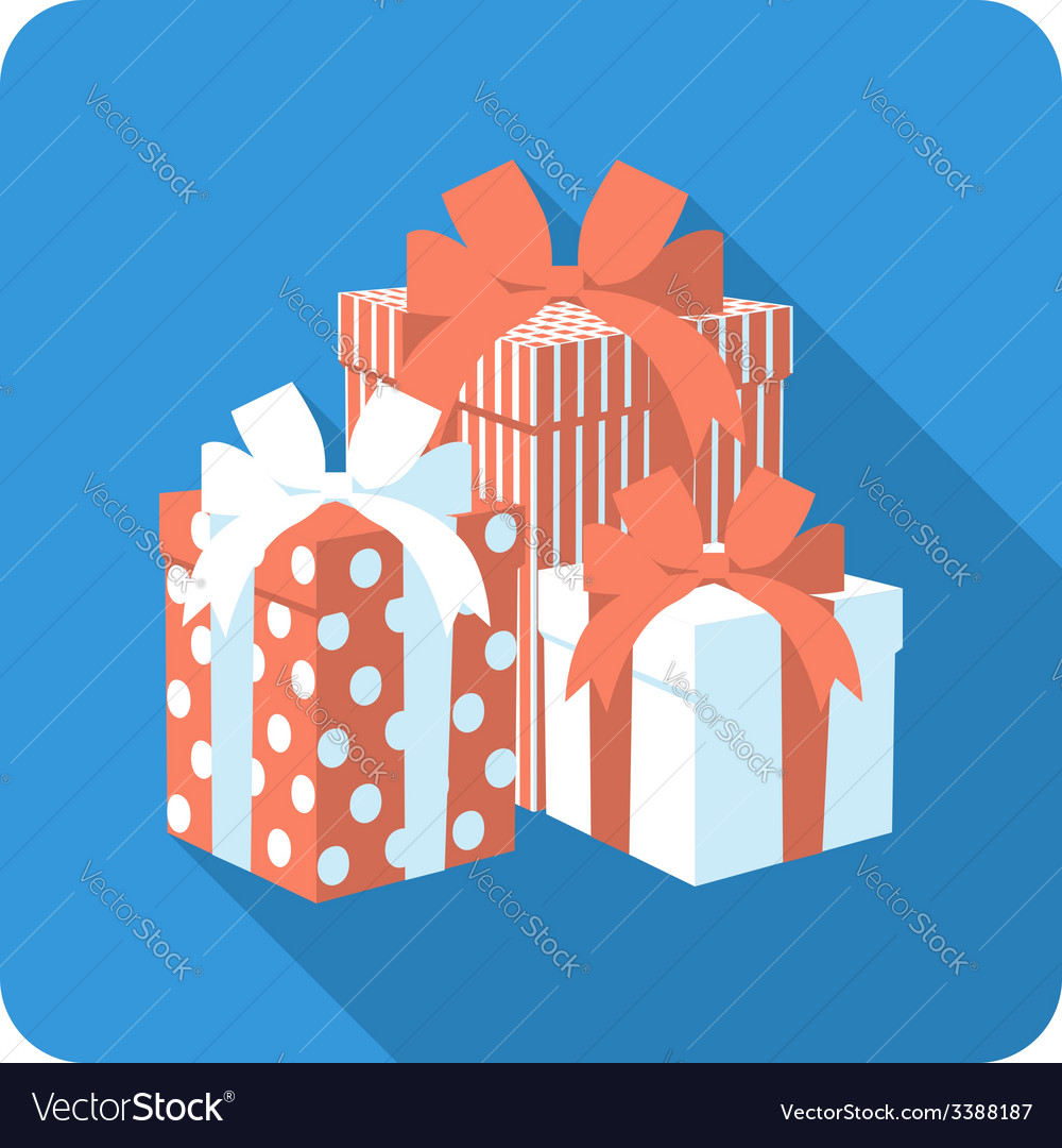 Set red and white gift box