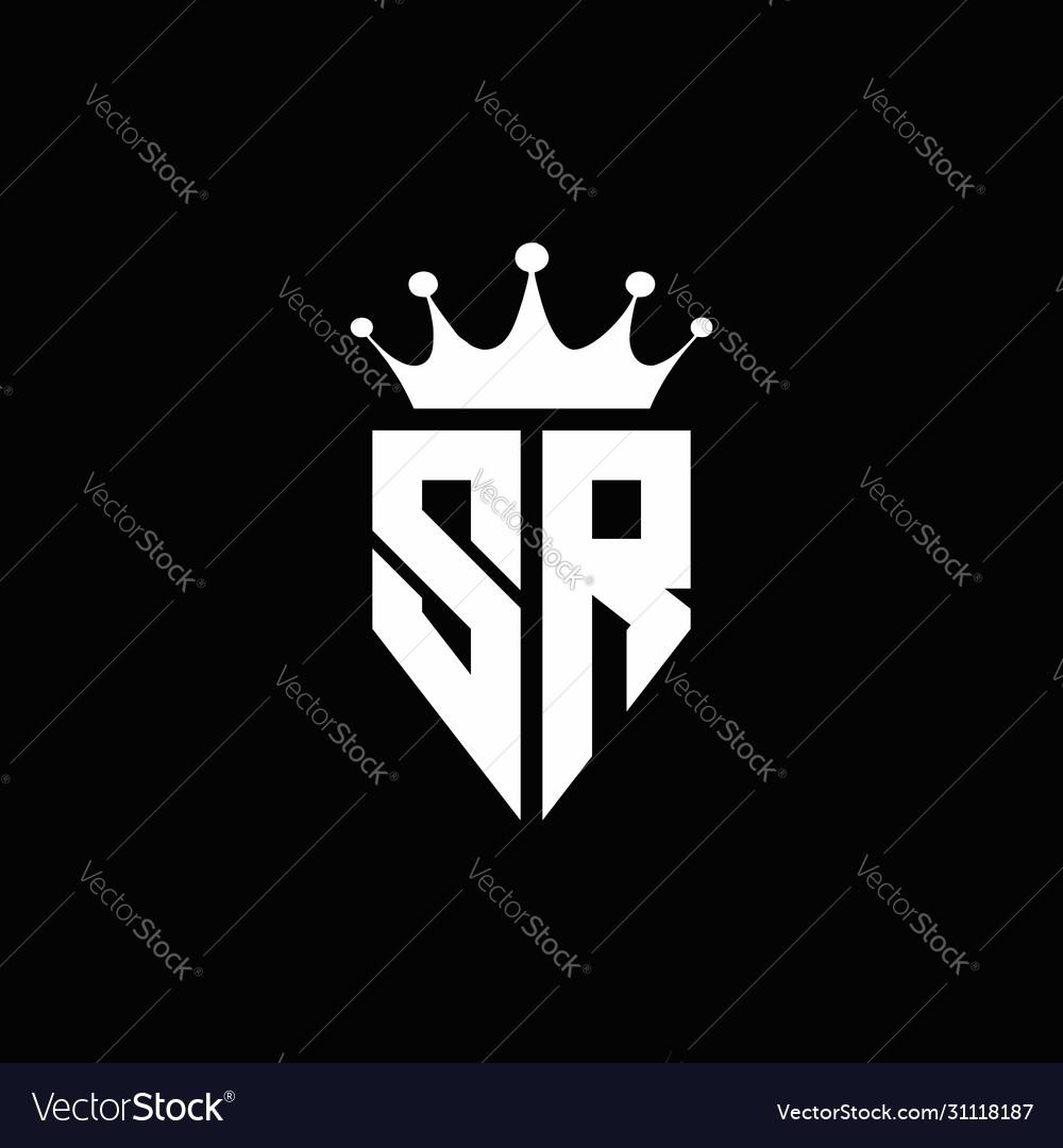 Sr Logo Monogram Emblem Style With Crown Shape Vector Image