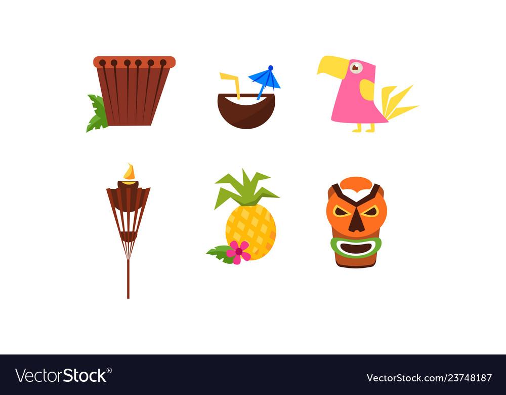 Symbols of hawaiian culture set summer vacation