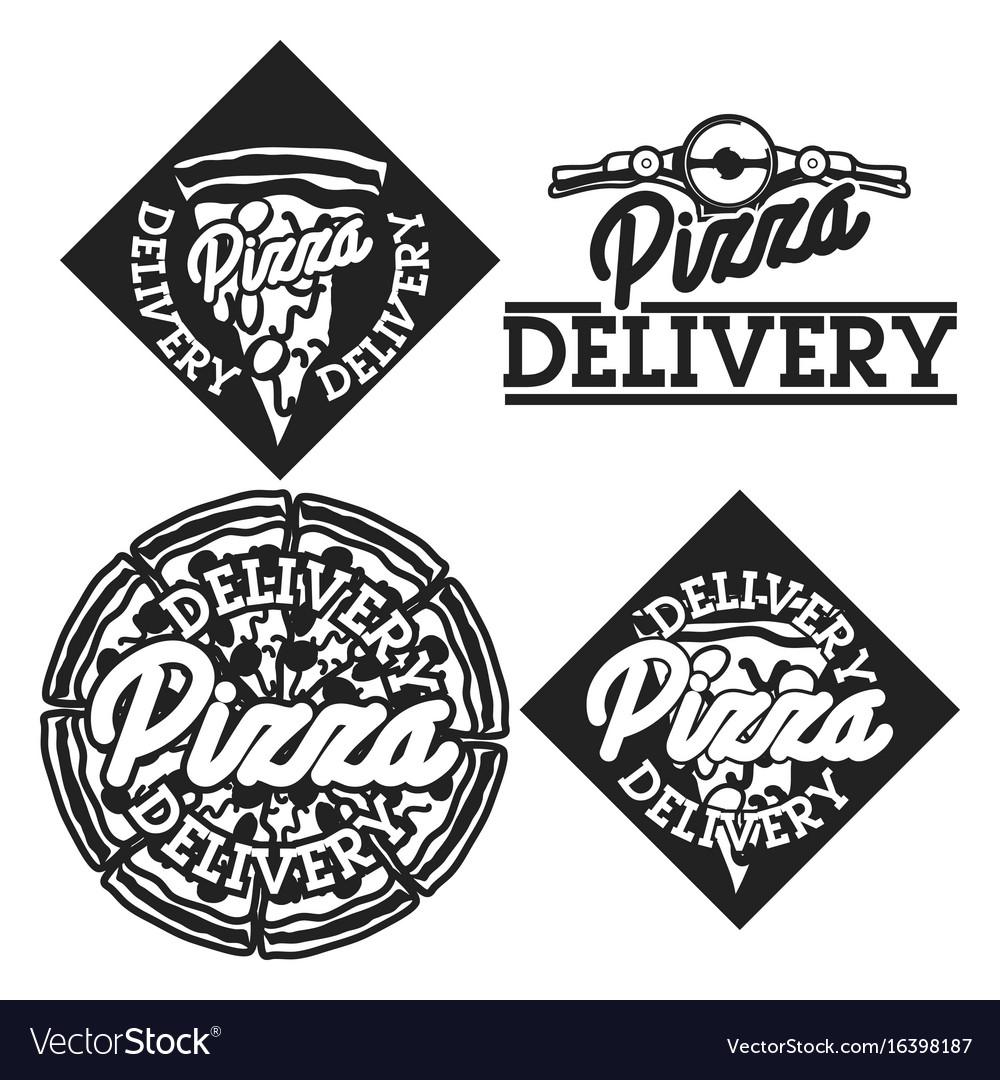 Vintage pizza delivery emblems