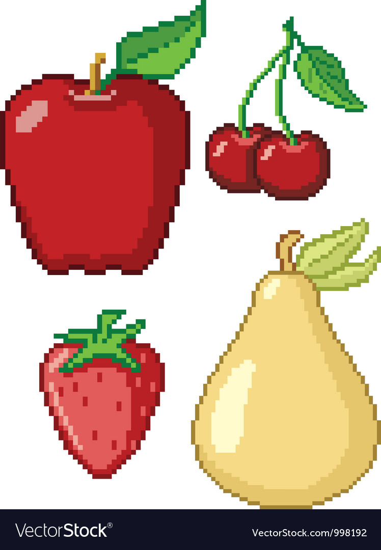 8-bit fruit retro video game cartoon web icon set