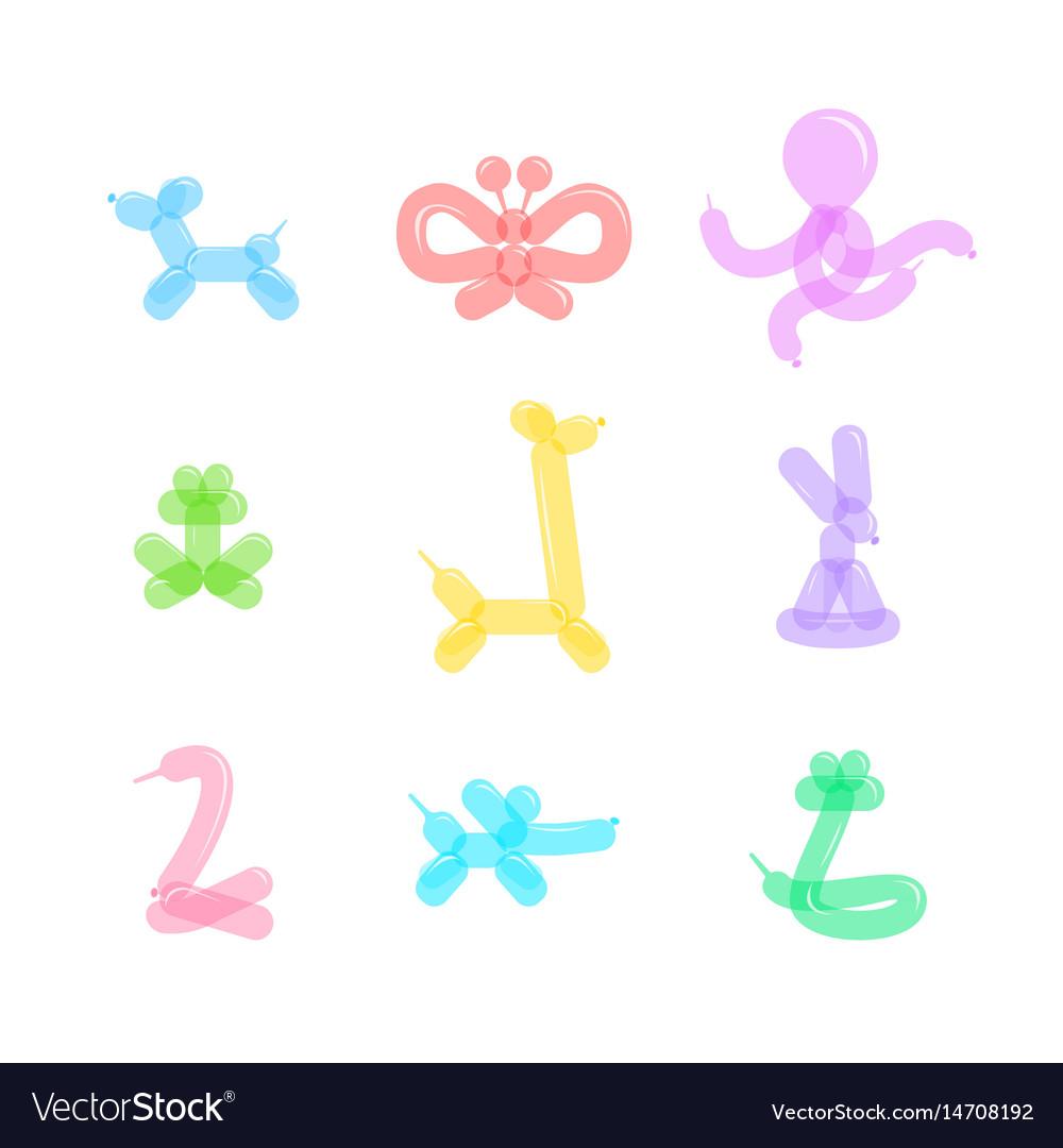 Animal balloon color icons set vector image