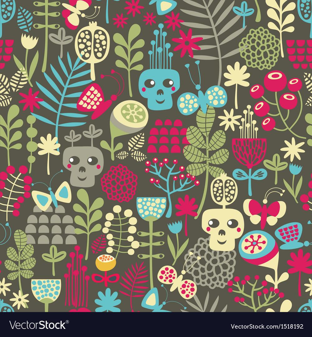 Cute skulls seamless pattern