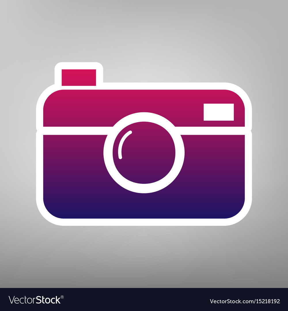 Digital photo camera sign purple gradient vector image