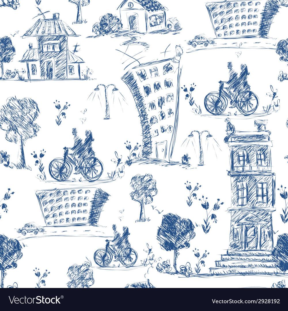 Doodle city seamless pattern