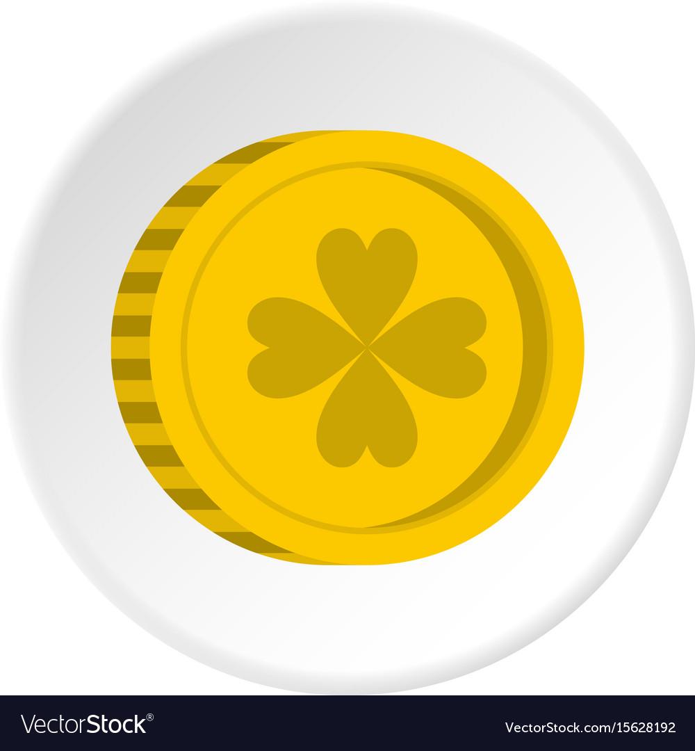 Golden coin with clover sign icon circle