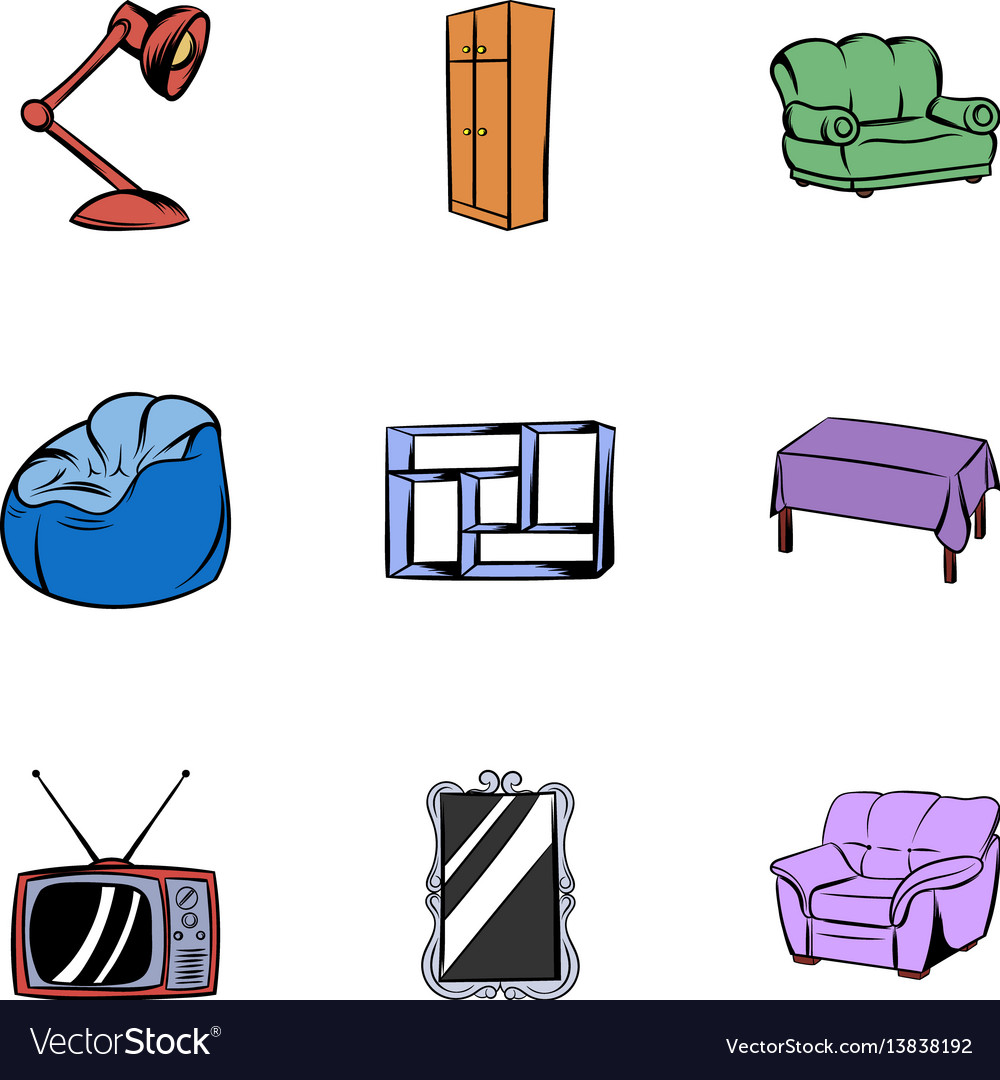 Home icons set cartoon style