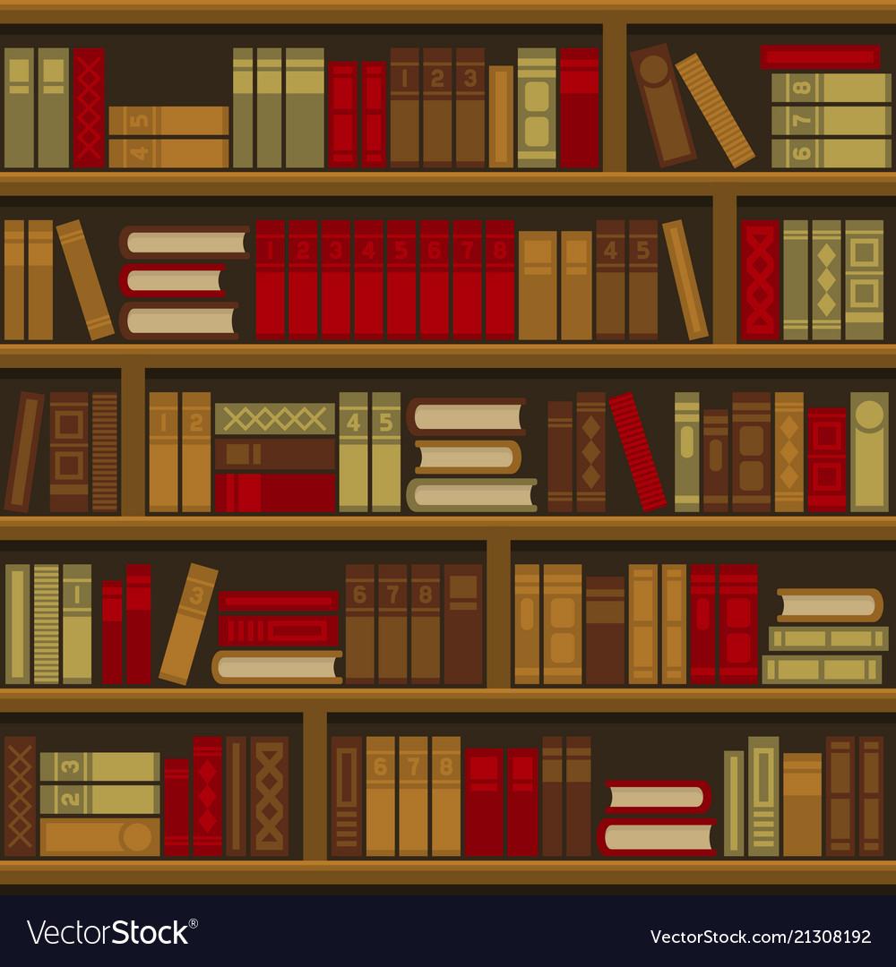 Library book shelf seamless background