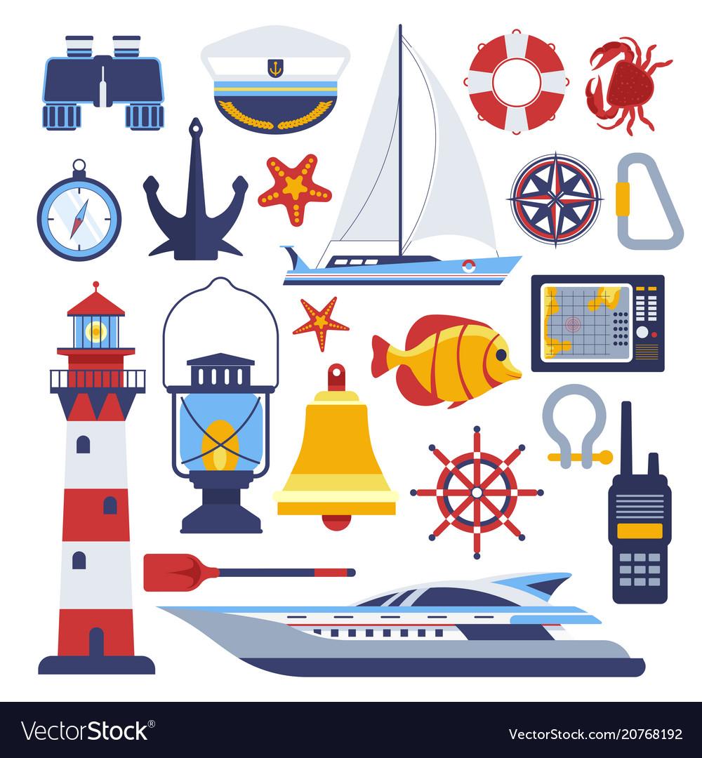 Marine and nautical flat icons