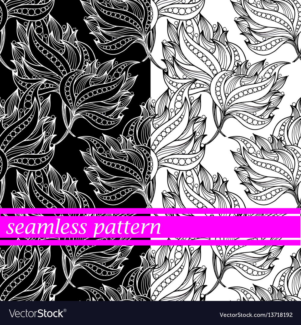 Set of seamless pattern with flowers