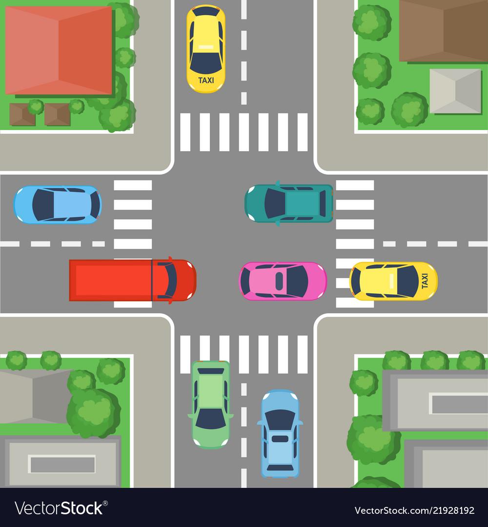 Street crossing in city