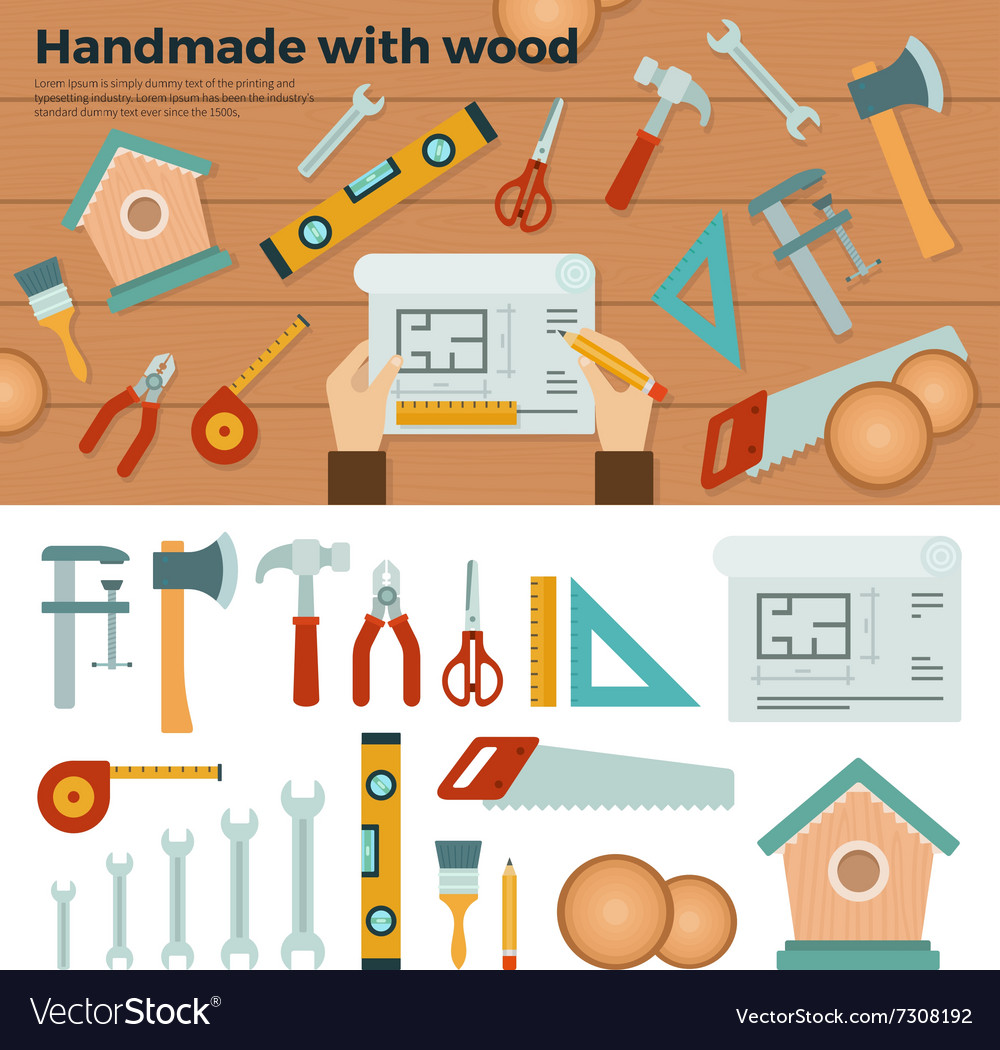 Tools for Handmade with Wood Hobby Concept