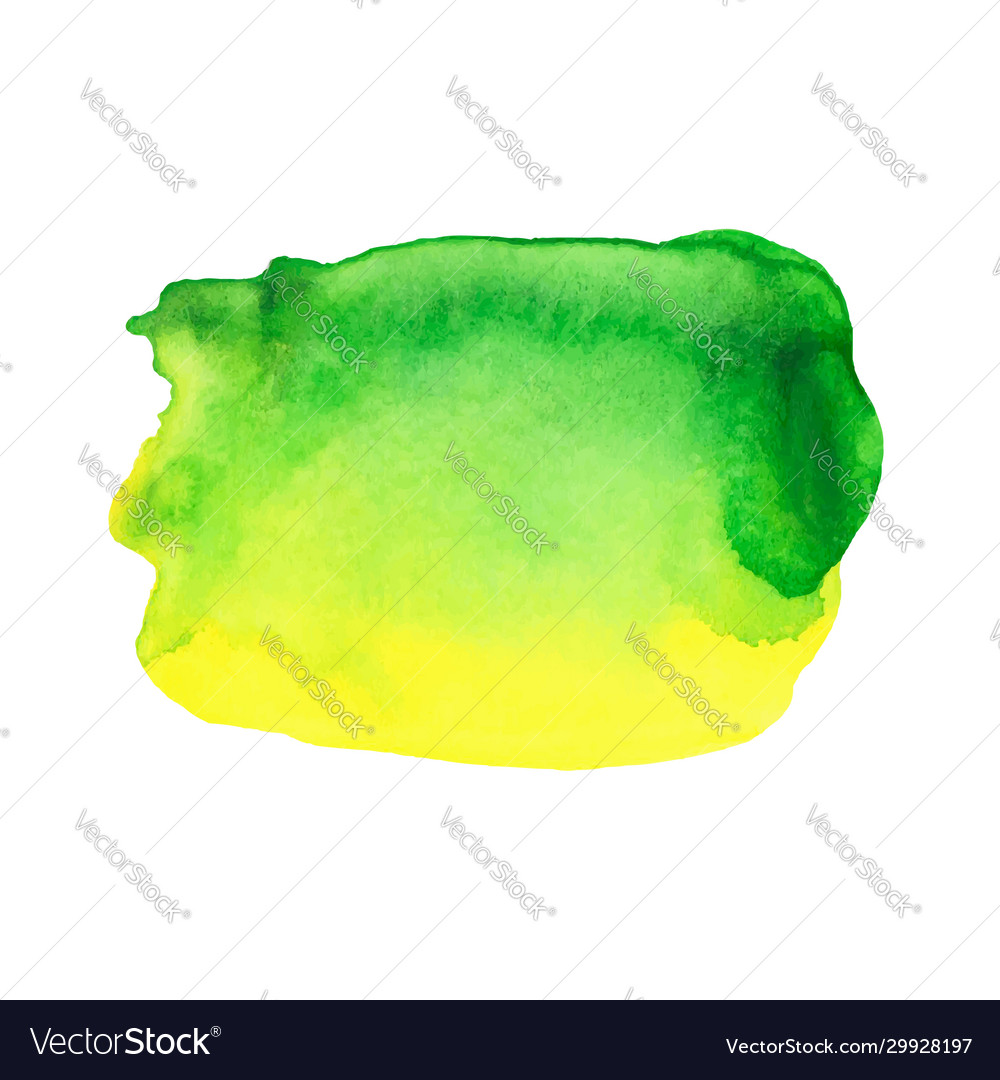 Abstract watercolor bright green and yellow