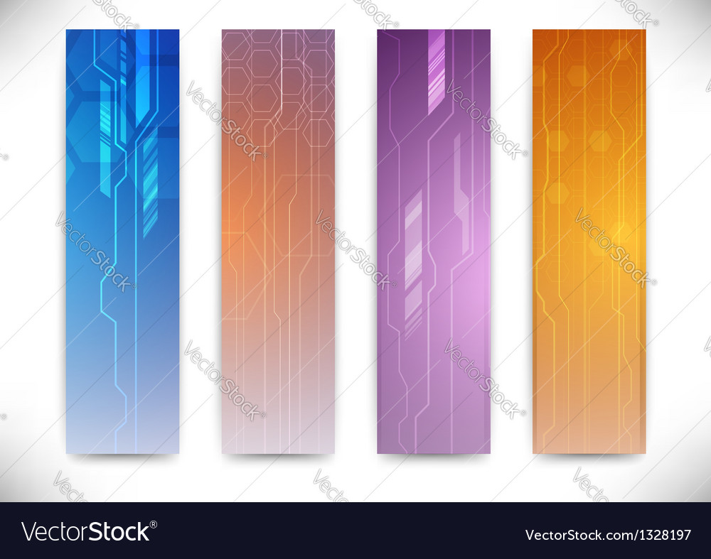 Collection of vertical flyers - futuristic concept vector image