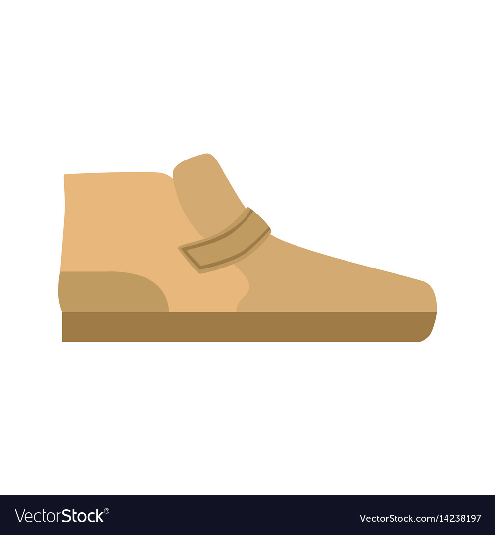 Flat sole brown shoe isolated footwear flat icon vector image