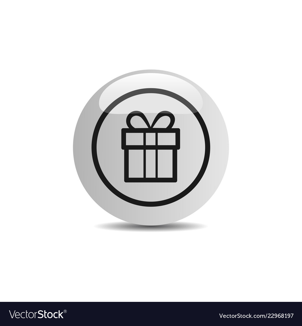 Gift icon in a button on a white background