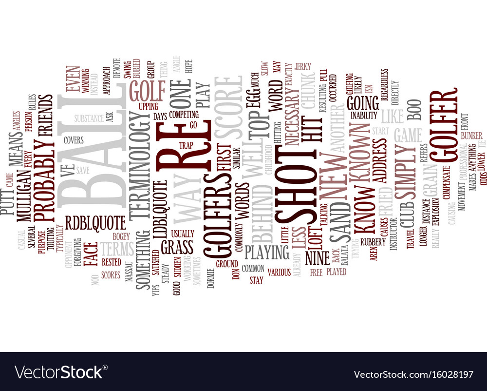 Golf terminology text background word cloud vector image