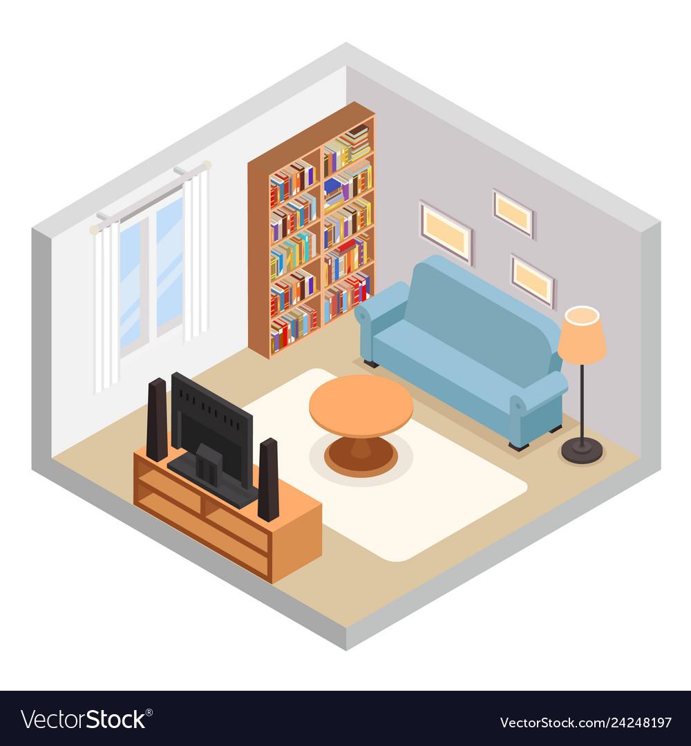 Hall isometric tv couch sofa bookshelf modern
