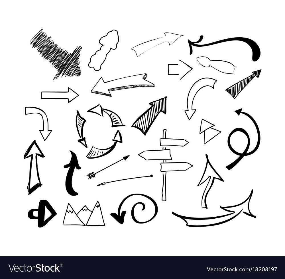 Hand drawn sketch doodle arrows set