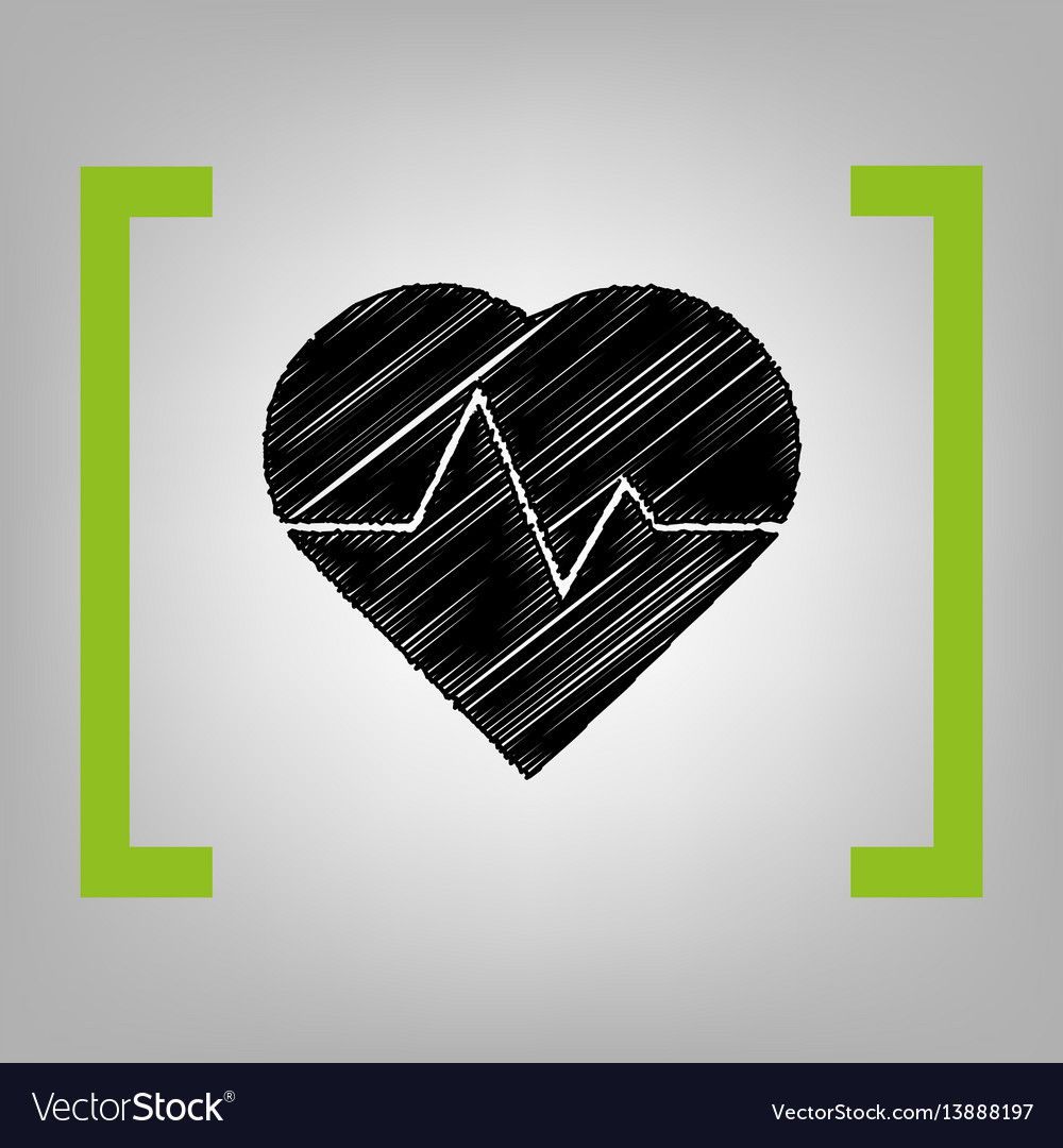 Heartbeat sign black vector image
