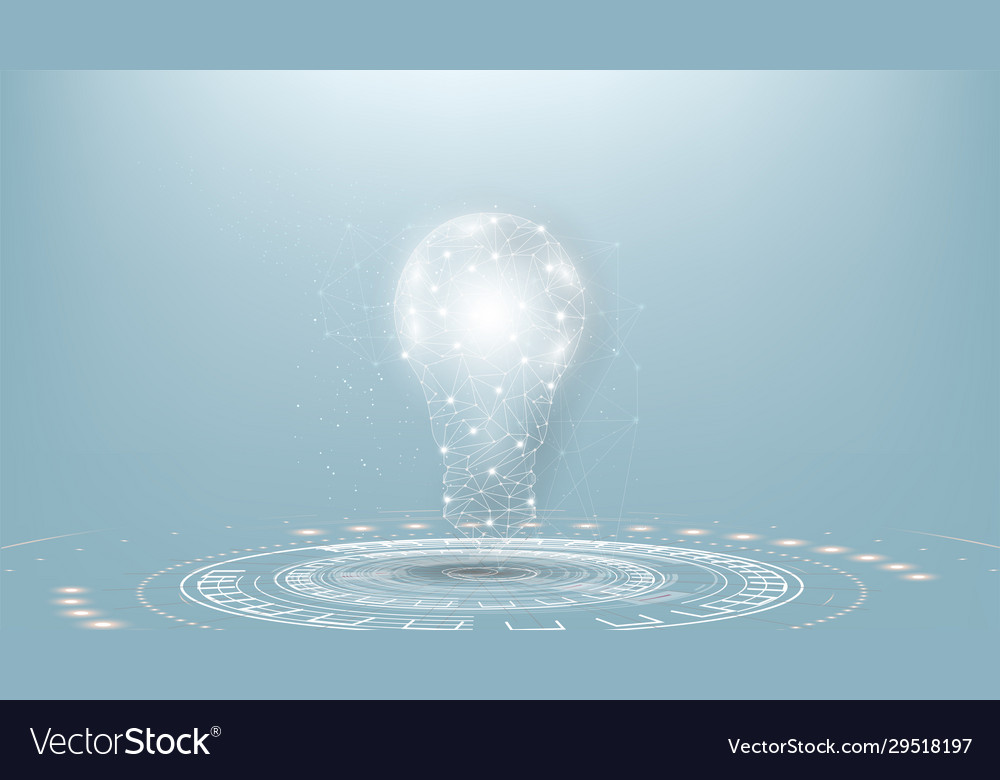 Lightbulb low poly design with connecting dots