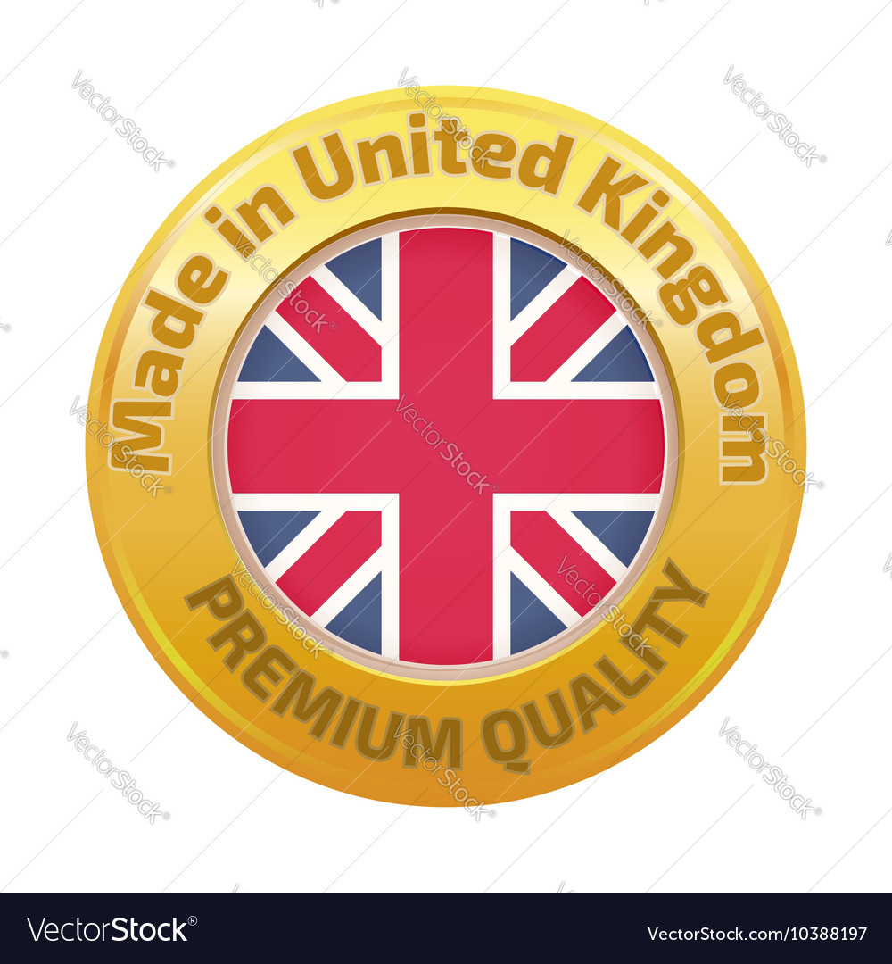 Made in UK badge with United Kingdom flag symbol